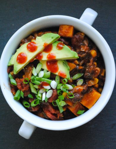 Spicy Poblano and Sweet Potato Chili