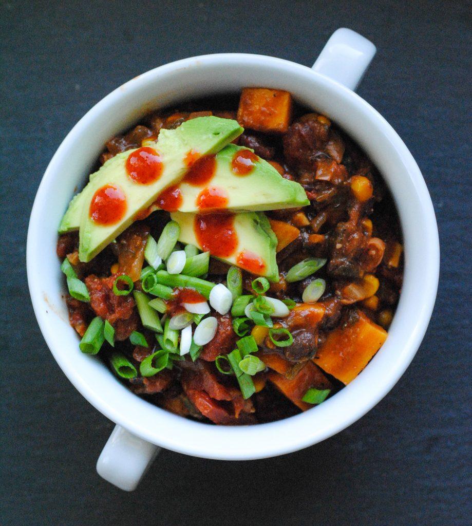 Spicy Poblano and Sweet Potato Chili