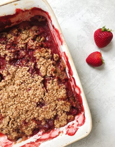 Vegan and Gluten Free Rhubarb and Red Berry Crisp